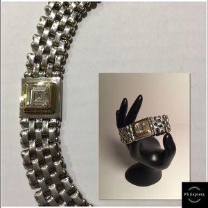 Jewelry - STERLING SILVER, W/GOLD and ZIRCONIA BRACELET.